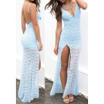 Lace Jacquard Backless Sexy Spaghetti Strap Women's Maxi Dress