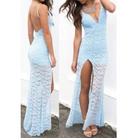 Lace Jacquard Backless Sexy Spaghetti Strap Women's Maxi Dress