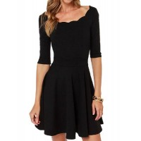 Ladylike Scoop Neck 3/4 Sleeve Solid Color Dress For Women black