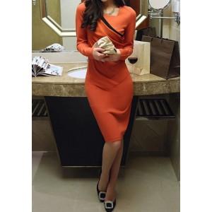 Ladylike Square Neck Long Sleeve Spliced Furcal Dress For Women orange