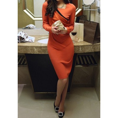 Ladylike Square Neck Long Sleeve Spliced Furcal Dress For Women orange