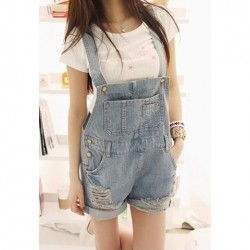 Loose Fit Destroyed Denim Cheap Jeans Overalls Shorts For Women blue