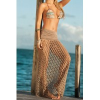 Mesh Hollow Out Sexy Style Women's Skirt coffee