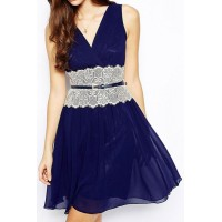 Retro Style Plunging Neck Sleeveless Spliced Lace Embellished Slimming Dress For Women blue