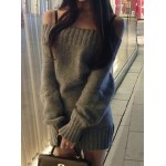 Round Neck Long Sleeves Solid Color Stylish Dress For Women gray