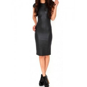 Scoop Neck Short Sleeves PU Leather Stylish Black Dress For Women black