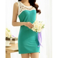 Scoop Neck Sleeveless Hollow Out Color Splicing Stylish Dress For Women blue
