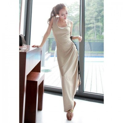 Scoop Neckline Casual Sophisticated Style and Color Matching Tether Sleeveless Cotton Dress For Women khaki