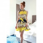 Sexy Halter Neck Tiny Floral Print Pleated Dress for Women yellow