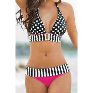 Sexy Halter Polka Dot Spliced Bikini Set For Women