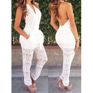 Sexy Halter Sleeveless Solid Color Backless Jumpsuit For Women white