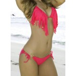Sexy Halter Tassels Embellished Solid Color Bikini Set For Women plum