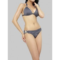 Sexy Halterneck Ruffled Sequined Self-Tie Solid Color Bikini Swimsuit For Women grey