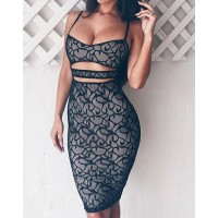 Sexy Hollow Out Spaghetti Strap Lace Dress For Women black