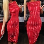 Sexy Jewel Neck Sleeveless Polka Dot Slimming Dress For Women red