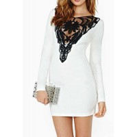 Sexy Long Sleeve Round Collar Spliced See-Through Dress For Women white