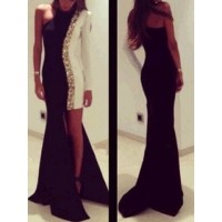 Sexy One-Shoulder Long Sleeve Spliced Asymmetrical Dress For Women white black