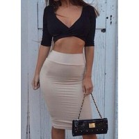 Sexy Plunging Neck 1/2 Sleeve Crop Top + High-Waisted Bodycon Skirt Twinset For Women