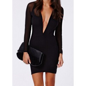 Sexy Plunging Neck Long Sleeve Spliced Bodycon Dress For Women black