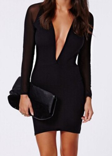 Sexy Plunging Neck Long Sleeve Spliced Bodycon Dress For Women black Zoom.  Product ... ea38bd7013