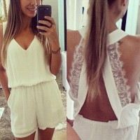 Sexy Plunging Neck Sleeveless Solid Color Laciness Romper For Women white