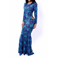 Sexy Round Neck Long Sleeve Printed Hollow Out Dress For Women blue
