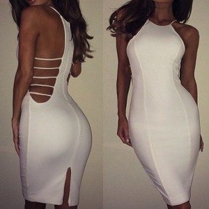 Sexy Round Neck Sleeveless Backless Furcal Dress For Women white