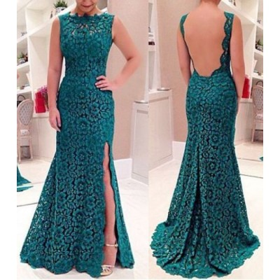 Sexy Round Neck Sleeveless Furcal Backless Dress For Women green