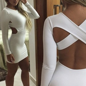 Sexy Scoop Collar Long Sleeve Solid Color Criss-Cross Dress For Women white
