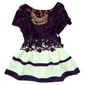 Sexy Scoop Collar Short Sleeve Hollow Out Spliced Dress For Women white and black