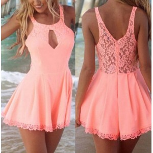Sexy Scoop Collar Sleeveless Hollow Out Laciness Jumpsuit For Women pink white