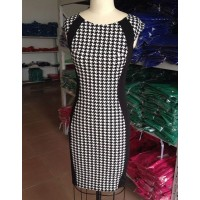 Sexy Scoop Collar Sleeveless Spliced Bodycon Houndstooth Dress For Women white black