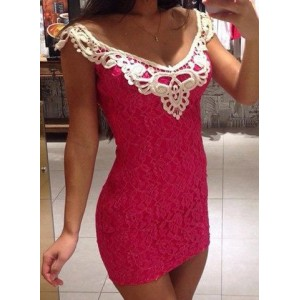 Sexy Scoop Collar Sleeveless Spliced Bodycon Lace Dress For Women pink