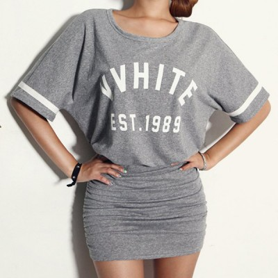 Sexy Scoop Neck Short Sleeve Letter Print Dress For Women gray white