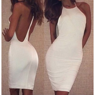 Sexy Scoop Neck Sleeveless Backless Bodycon Dress For Women white