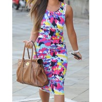 Sexy Scoop Neck Sleeveless Colorful Dress For Women