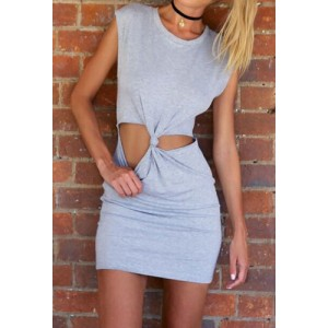 Sexy Scoop Neck Sleeveless Hollow Out Dress For Women gray