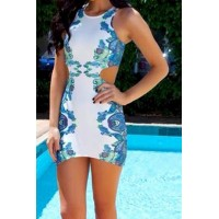 Sexy Sleeveless Scoop Neck Floral Print Hollow Out Dress For Women blue white
