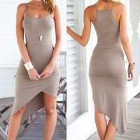 Sexy Spaghetti Strap Asymmetrical Solid Color Dress For Women Gray