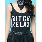 Sexy Spaghetti Strap Low Cut Letter Print Tank Top For Women white black