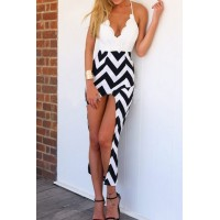 Sexy Spaghetti Strap Sleeveless Asymmetrical Herringbone Dress For Women white black
