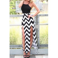 Sexy Spaghetti Strap Sleeveless Furcal Backless Herringbone Dress For Women black white