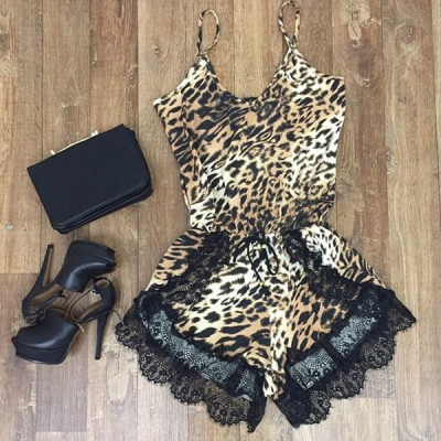 Sexy Spaghetti Strap Sleeveless Lace Embellished Leopard Print Jumpsuit For Women Leopard