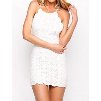 Sexy Spaghetti Strap Sleeveless Printed Backless Dress For Women blue white