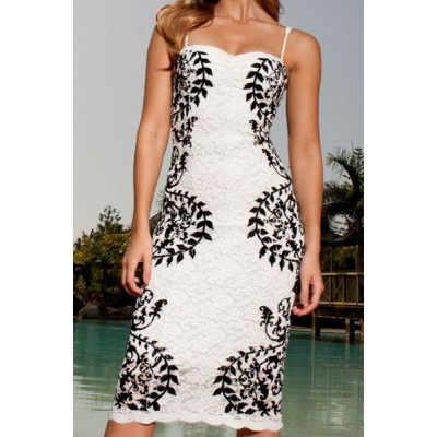 Sexy Spaghetti Strap Sleeveless Printed Lace Dress For Women black white
