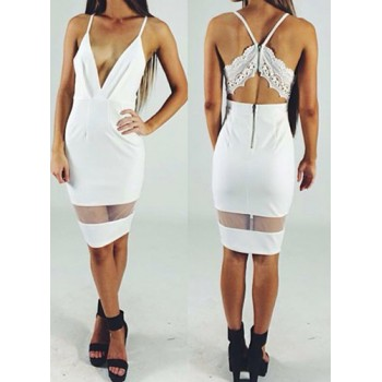 Sexy Spaghetti Strap Sleeveless Solid Color See-Through Zippered Dress For Women black white