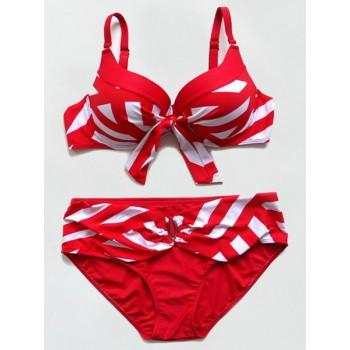 Sexy Spaghetti Strap Striped Bikini Set For Women black blue red