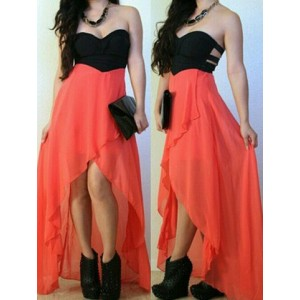 Sexy Strapless Sleeveless Color Block Hollow Out Asymmetrical Dress For Women orange
