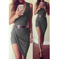 Sexy V-Neck Sleeveless Asymmetrical Solid Color Dress For Women gray black red white