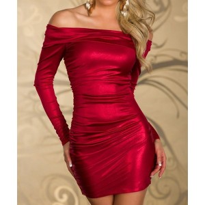 Sexy Women's Boat Neck Long Sleeve Bodycon Dress red